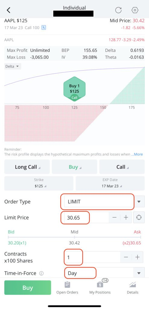 how to buy in the money call option on webull